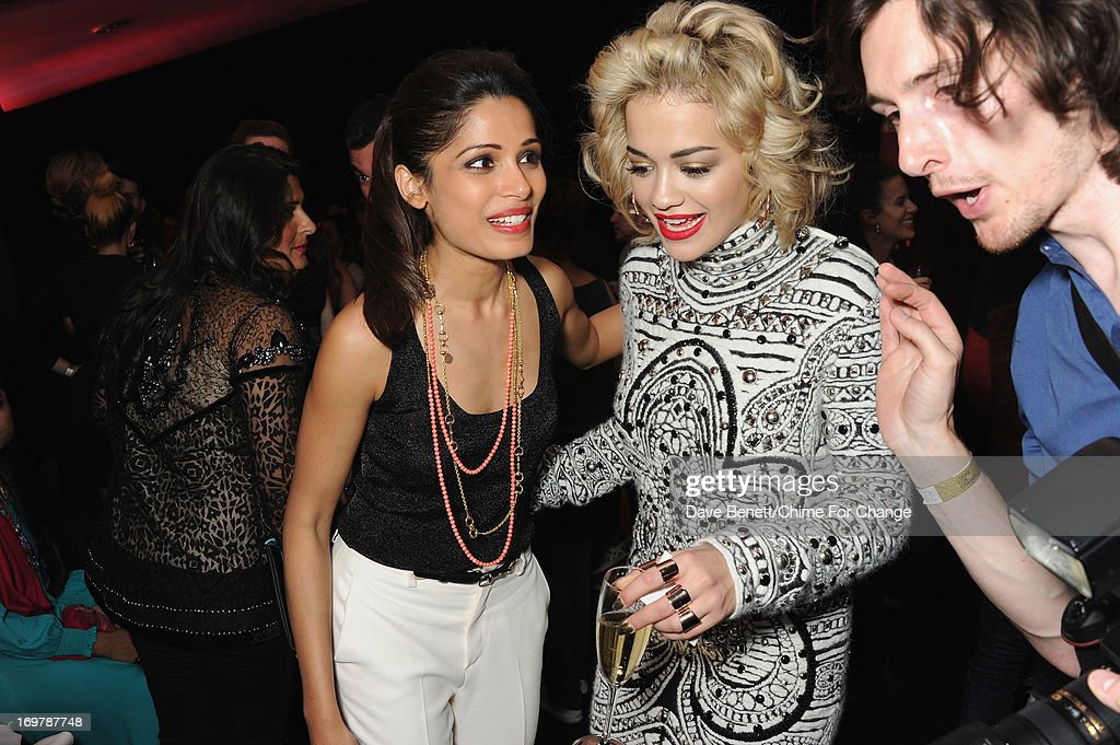 Rita Ora and Freida Pinto attend the after show party following the 'Chime For Change: The Sound Of Change Live' Concert at Twickenham Stadium on June 1, 2013 in London, England. Chime For Change is a global campaign for girls' and women's empowerment founded by Gucci with a founding committee comprised of Gucci Creative Director Frida Giannini, Salma Hayek Pinault and Beyonce Knowles-Carter.