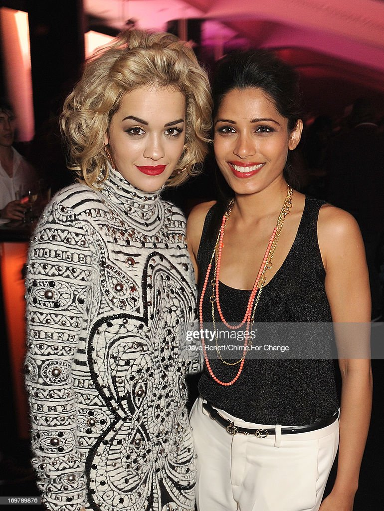 Rita Ora (L) and Freida Pinto attend the after show party following the 'Chime For Change: The Sound Of Change Live' Concert at Twickenham Stadium on June 1, 2013 in London, England. Chime For Change is a global campaign for girls' and women's empowerment founded by Gucci with a founding committee comprised of Gucci Creative Director Frida Giannini, Salma Hayek Pinault and Beyonce Knowles-Carter.
