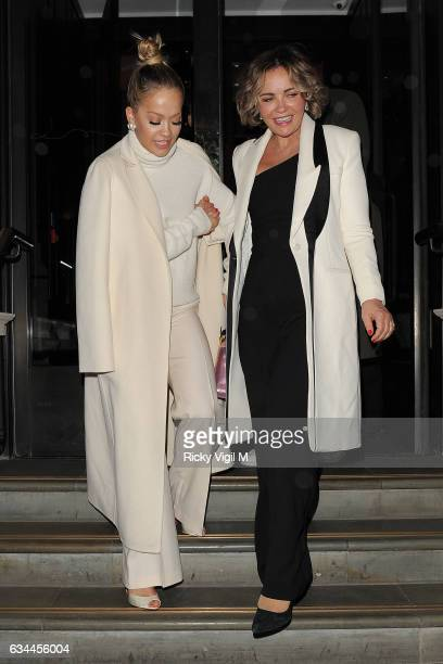 Rita Ora and her mother Vera Sahatciu leaving the'Fifty Shades Darker' premiere afterparty at Massimo's Corinthia Hotel on February 9 2017 in London...