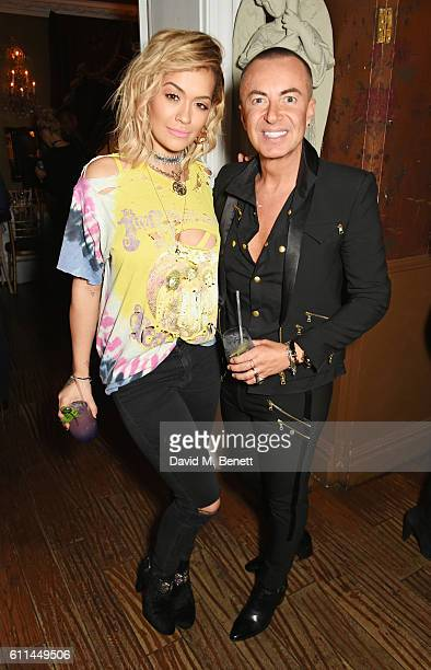 Rita Ora and Julien Macdonald attend the JF London x Kyle De'Volle VIP dinner at Beach Blanket Babylon on September 29 2016 in London England