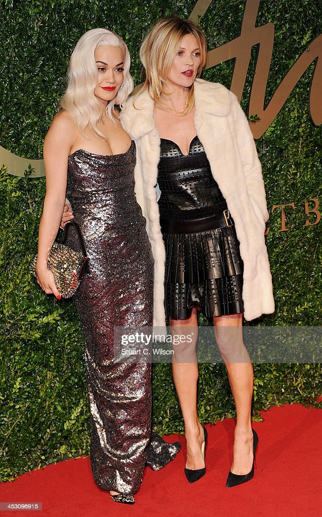 Rita Ora and Kate Moss attend the British Fashion Awards 2013 at London Coliseum on December 2, 2013 in London, England.