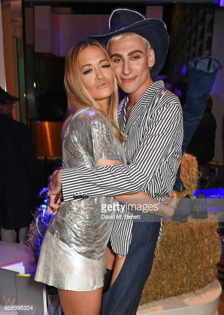Rita Ora and Kyle De'Volle attend the launch of the JF London x Kyle De'Volle fall/winter 2017 capsule collection sponsored by Ciroc Vodka at W...