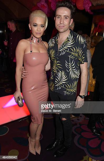 Rita Ora and Nick Grimshaw attend the Mert Marcus House of Love party for Madonna at Annabel's on February 26 2015 in London England