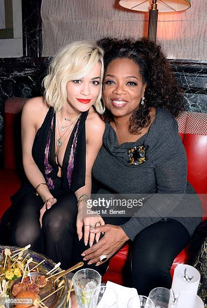 Rita Ora and Oprah Winfrey attend The Weinstein Co Entertainment and Pathe postBAFTA party hosted by Bulgari and Grey Goose at Rosewood London on...