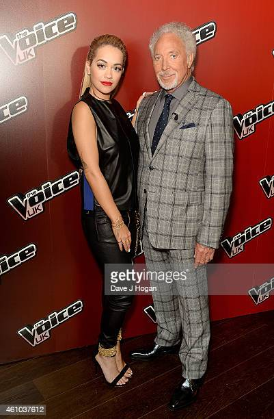Rita Ora and Sir Tom Jones attend the launch of 'The Voice UK' Series 4 at The Mondrian Hotel on January 5 2015 in London England