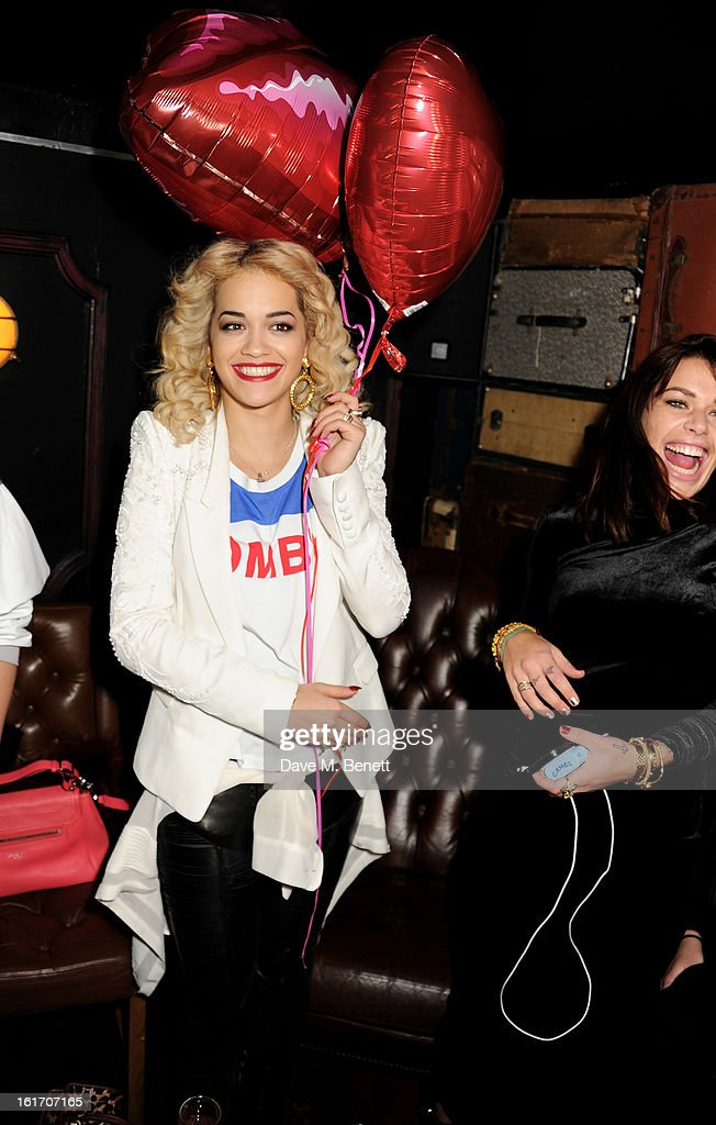 Rita Ora (L) and Willa Keswick attend The Rum Kitchen's Valentine's Speed Dating with The Village Bicycle on February 14, 2013 in London, England.