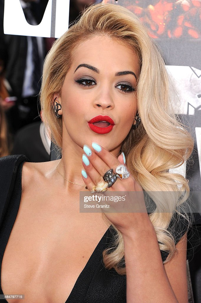 Rita Ora arrives at the 2014 MTV Movie Awards at Nokia Theatre L.A. Live on April 13, 2014 in Los Angeles, California.