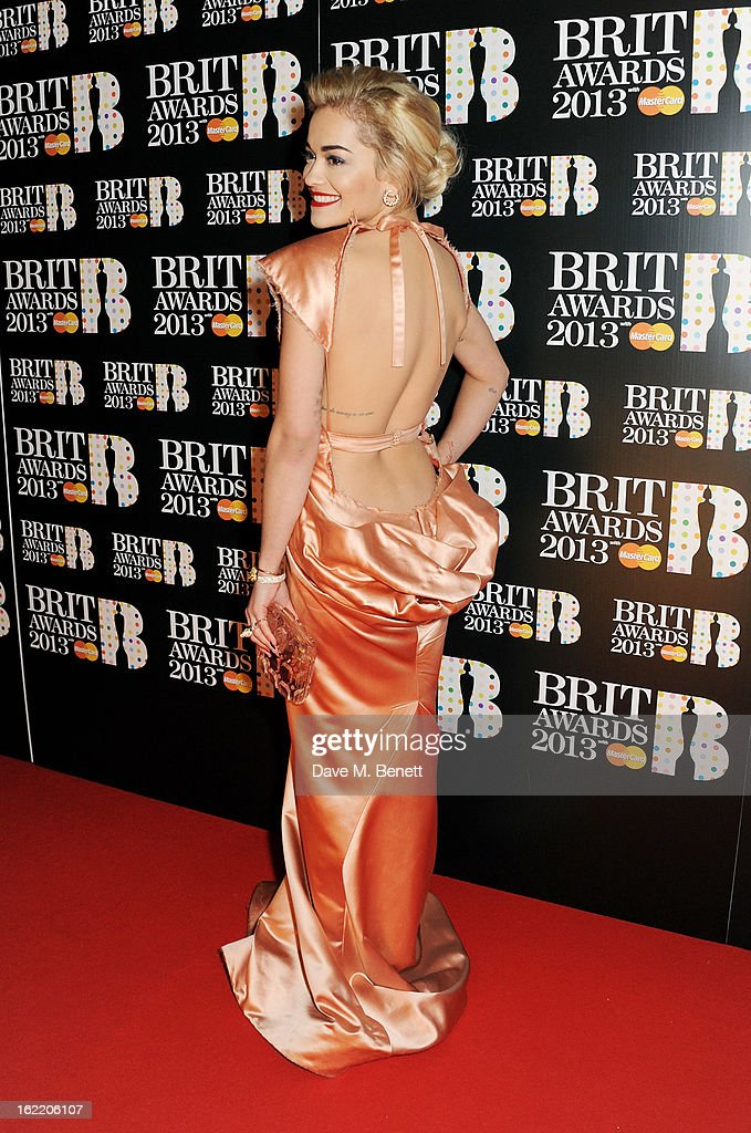 Rita Ora arrives at the BRIT Awards 2013 at the O2 Arena on February 20, 2013 in London, England.