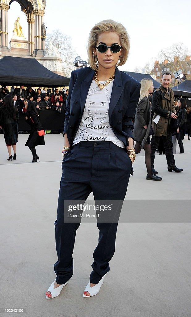 Rita Ora arrives at the Burberry Prorsum 2013 Autumn Winter Womenswear Show at Kensington Gardens on February 18, 2013 in London, England.