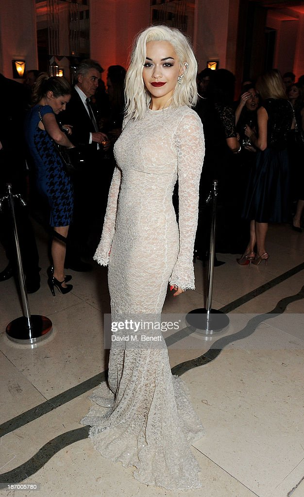Rita Ora arrives at the Harper's Bazaar Women of the Year awards at Claridge's Hotel on November 5, 2013 in London, England.