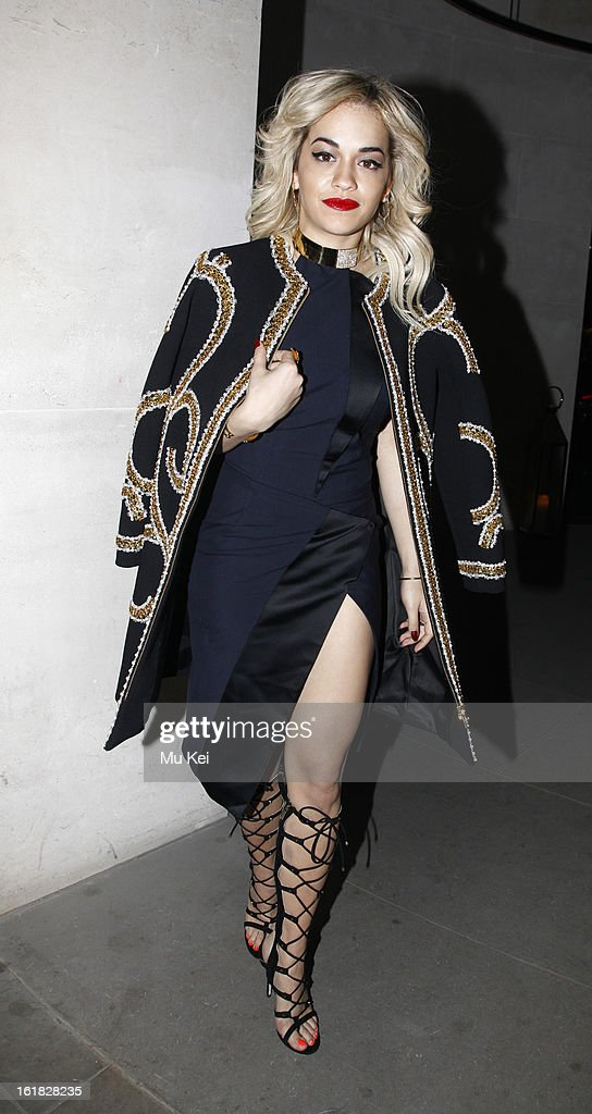 Rita Ora arrives at Woolmark Prize Final during London Fashion Week on February 16, 2013 in London, England.