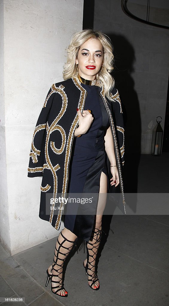 <a gi-track='captionPersonalityLinkClicked' href=/galleries/search?phrase=Rita+Ora&family=editorial&specificpeople=5686485 ng-click='$event.stopPropagation()'>Rita Ora</a> arrives at Woolmark Prize Final during London Fashion Week on February 16, 2013 in London, England.