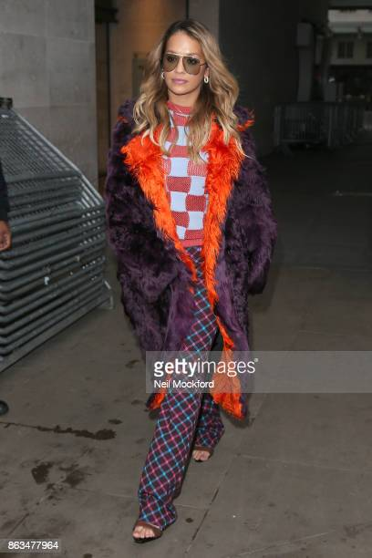 Rita Ora at BBC Radio One after cohosting the Breakfast Show with Nick Grimshaw on October 20 2017 in London England