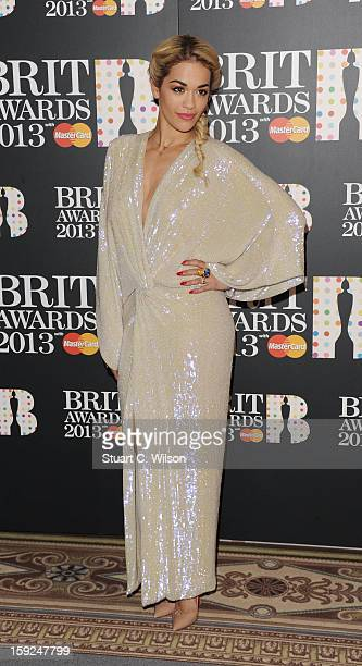 Rita Ora attends as the nominations for the BRIT Awards are announced at The Savoy Hotel on January 10 2013 in London England