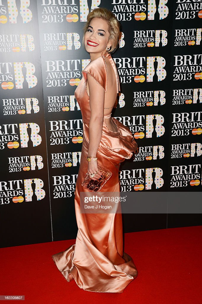 Rita Ora attends The Brit Awards 2013 at The O2 Arena on February 20, 2013 in London, England.