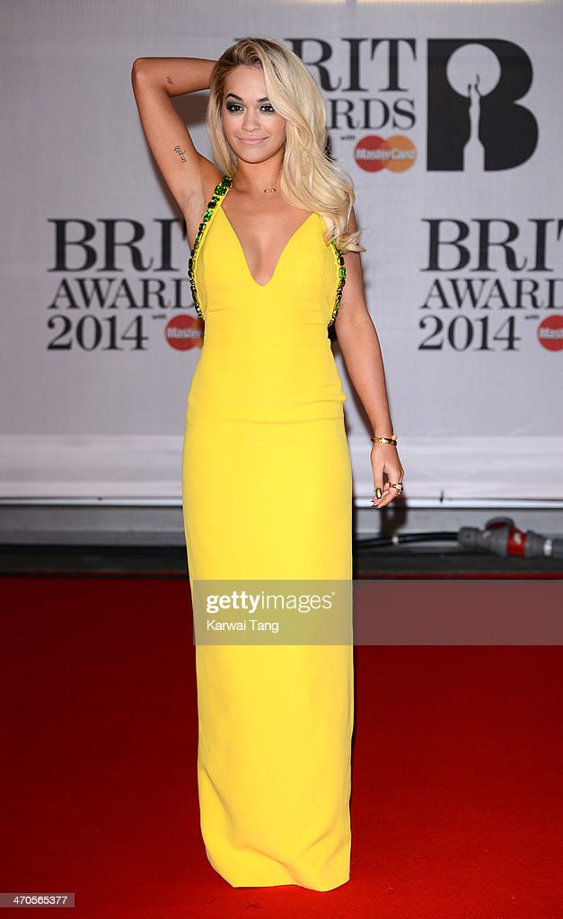 Rita Ora attends The BRIT Awards 2014 at 02 Arena on February 19, 2014 in London, England.