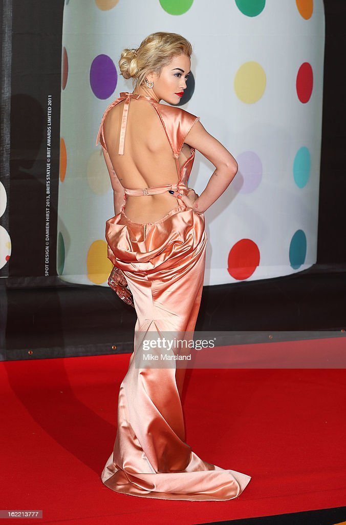 <a gi-track='captionPersonalityLinkClicked' href=/galleries/search?phrase=Rita+Ora&family=editorial&specificpeople=5686485 ng-click='$event.stopPropagation()'>Rita Ora</a> attends the Brit Awards at 02 Arena on February 20, 2013 in London, England.