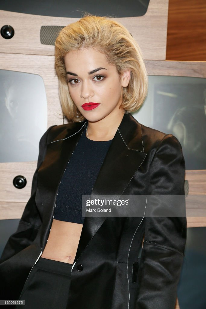 Rita Ora attends the Calvin Klein Jeans launch party at their Regent Street store on February 18, 2013 in London, England.