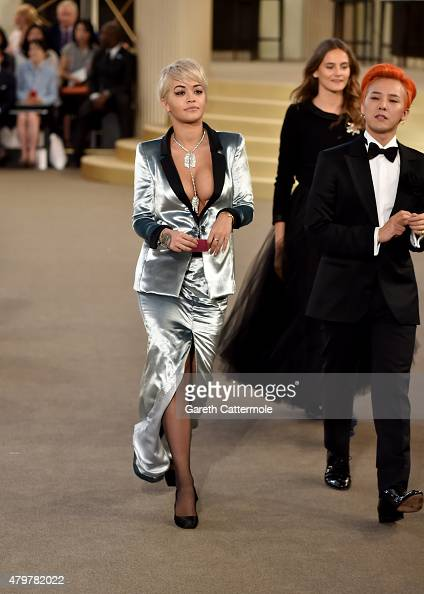 Rita Ora attends the Chanel show as part of Paris Fashion Week Haute Couture Fall/Winter 2015/2016 at the Grand Palais on July 7 2015 in Paris France