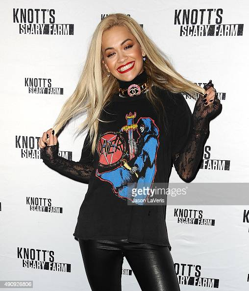 Rita Ora attends the Knott's Scary Farm black carpet at Knott's Berry...
