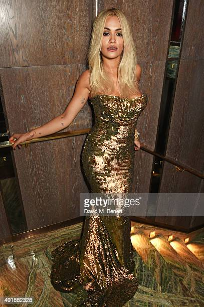 Rita Ora attends the launch of Sexy Fish London in Berkeley Square on October 8 2015 in London England