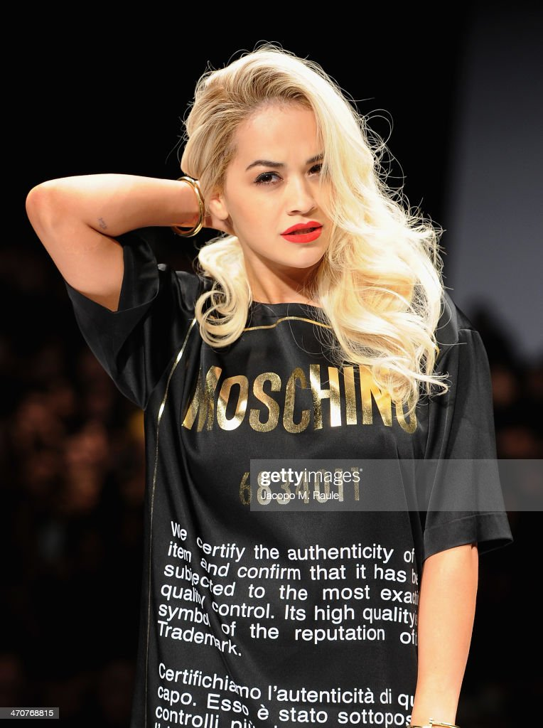 <a gi-track='captionPersonalityLinkClicked' href=/galleries/search?phrase=Rita+Ora&family=editorial&specificpeople=5686485 ng-click='$event.stopPropagation()'>Rita Ora</a> attends the Moschino show as a part of Milan Fashion Week Womenswear Autumn/Winter 2014 on February 20, 2014 in Milan, Italy.