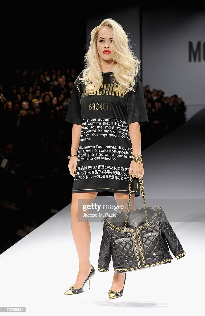 Rita Ora attends the Moschino show as a part of Milan Fashion Week Womenswear Autumn/Winter 2014 on February 20, 2014 in Milan, Italy.
