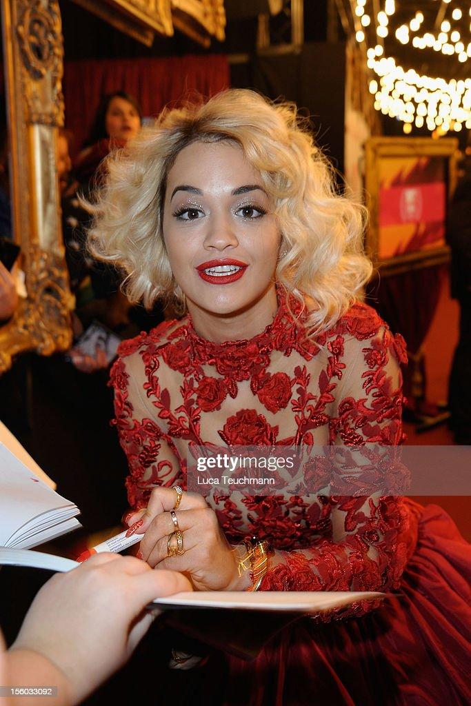 Rita Ora attends the MTV EMA's 2012 at Festhalle Frankfurt on November 11, 2012 in Frankfurt am Main, Germany.