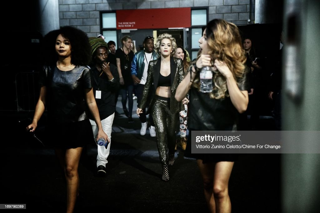<a gi-track='captionPersonalityLinkClicked' href=/galleries/search?phrase=Rita+Ora&family=editorial&specificpeople=5686485 ng-click='$event.stopPropagation()'>Rita Ora</a> backstage at the 'Chime For Change: The Sound Of Change Live' Concert at Twickenham Stadium on June 1, 2013 in London, England. Chime For Change is a global campaign for girls' and women's empowerment founded by Gucci with a founding committee comprised of Gucci Creative Director Frida Giannini, Salma Hayek Pinault and Beyonce Knowles-Carter.