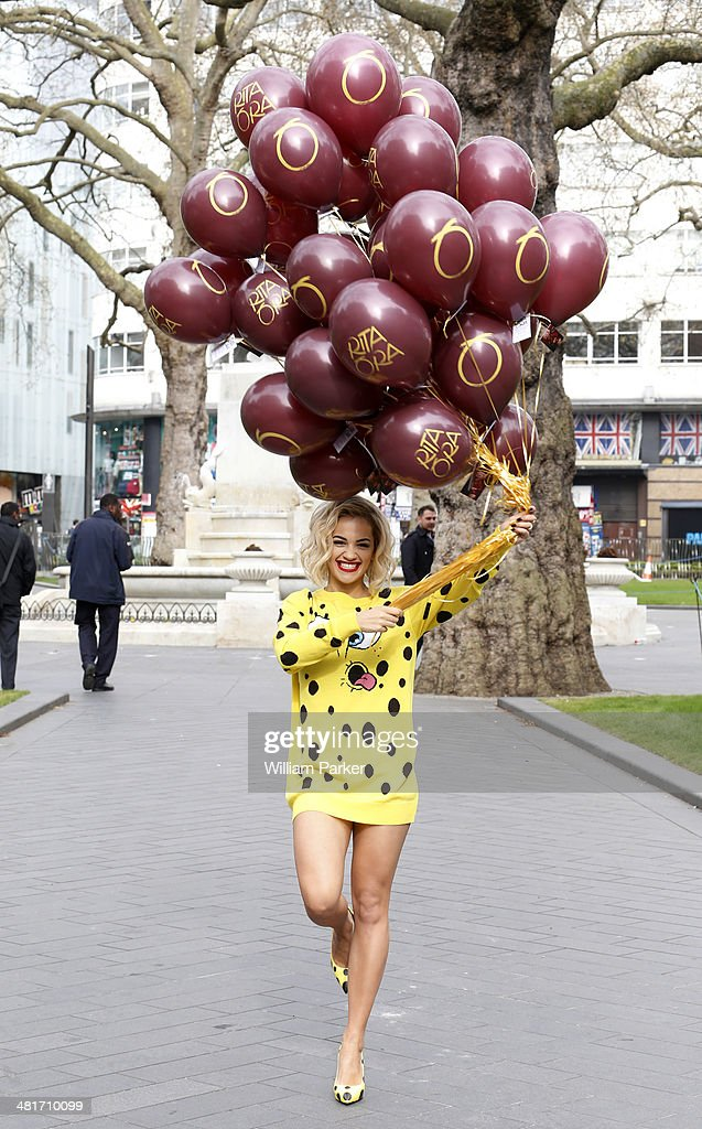 <a gi-track='captionPersonalityLinkClicked' href=/galleries/search?phrase=Rita+Ora&family=editorial&specificpeople=5686485 ng-click='$event.stopPropagation()'>Rita Ora</a> celebrates her new single 'I will never let you down' by making a appearance in Leicester Square on March 31, 2014 in London, England.