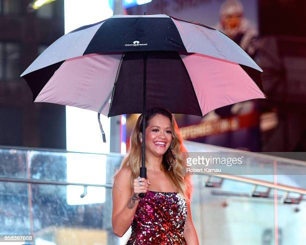 Rita Ora films a music video in TimeSquare on October 5 2017 in New York City