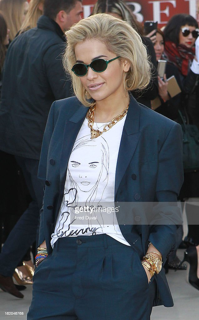 <a gi-track='captionPersonalityLinkClicked' href=/galleries/search?phrase=Rita+Ora&family=editorial&specificpeople=5686485 ng-click='$event.stopPropagation()'>Rita Ora</a> is pictured arriving at the Burberry Prorsum during London Fashion Week on February 18, 2013 in London, England.