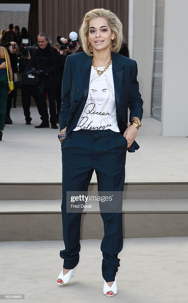 Rita Ora is pictured arriving at the Burberry Prorsum during London Fashion Week on February 18, 2013 in London, England.