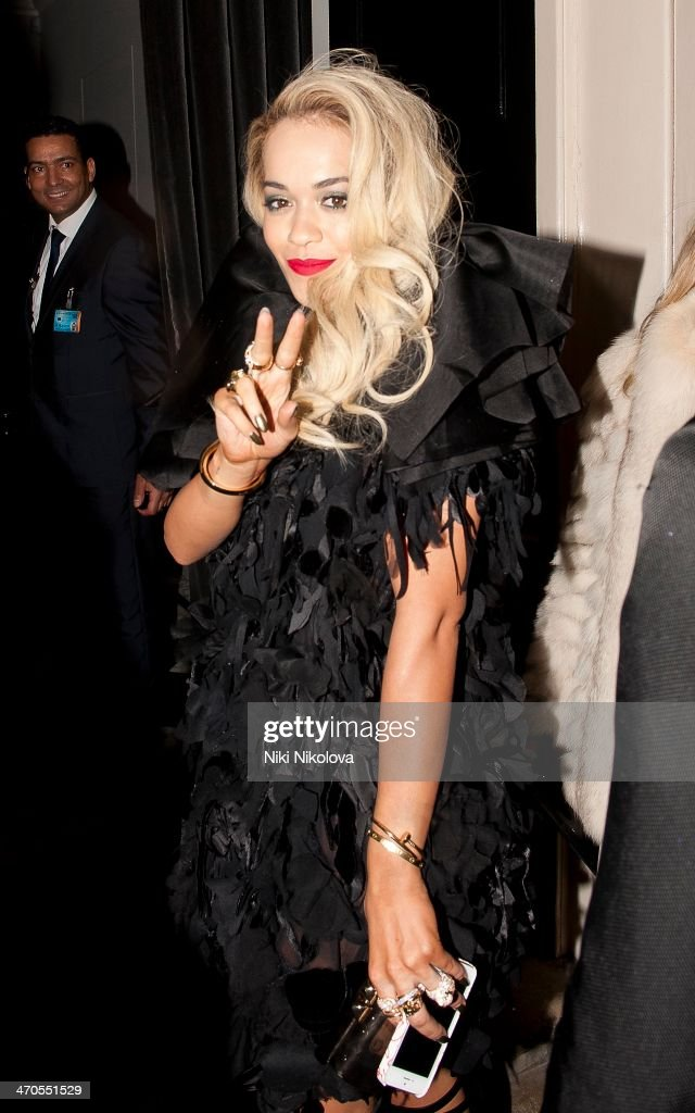 <a gi-track='captionPersonalityLinkClicked' href=/galleries/search?phrase=Rita+Ora&family=editorial&specificpeople=5686485 ng-click='$event.stopPropagation()'>Rita Ora</a> is seen arriving at the Sony party held at the Arts Club, Mayfair on February 19, 2014 in London, England.