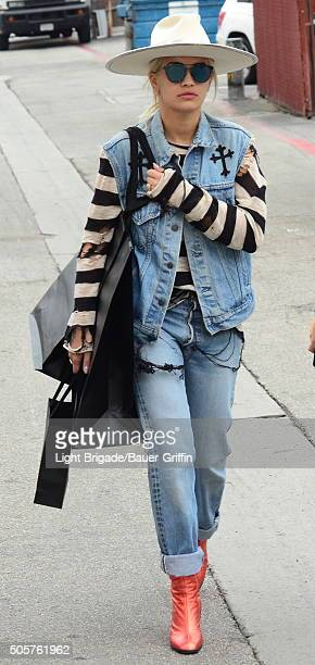 Rita Ora is seen in Beverly Hills Ca on January 19 2016 in Los Angeles California