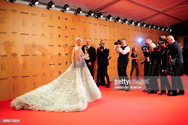Rita Ora is seen with her award at the Bambi Awards 2015 winners board at Stage Theater on November 12 2015 in Berlin Germany