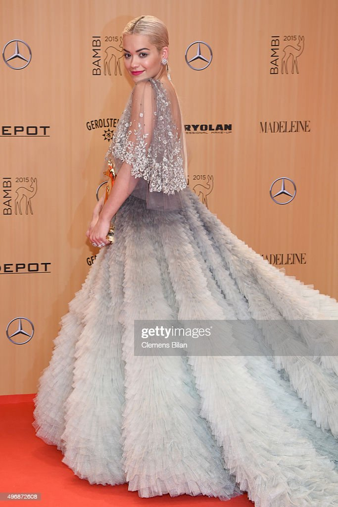 <a gi-track='captionPersonalityLinkClicked' href=/galleries/search?phrase=Rita+Ora&family=editorial&specificpeople=5686485 ng-click='$event.stopPropagation()'>Rita Ora</a> is seen with her award at the Bambi Awards 2015 winners board at Stage Theater on November 12, 2015 in Berlin, Germany.