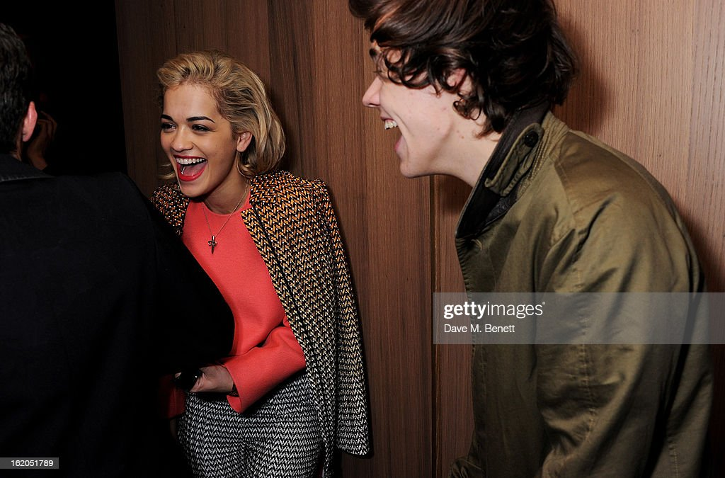 Rita Ora L) and Harry Styles attend the AnOther Magazine and Dazed & Confused party with Belvedere Vodka at the Cafe Royal hotel on February 18, 2013 in London, England.