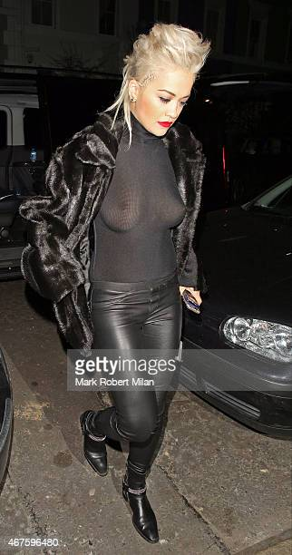 Rita Ora leaves the Shepherd's Bush Empire on March 25 2015 in London England