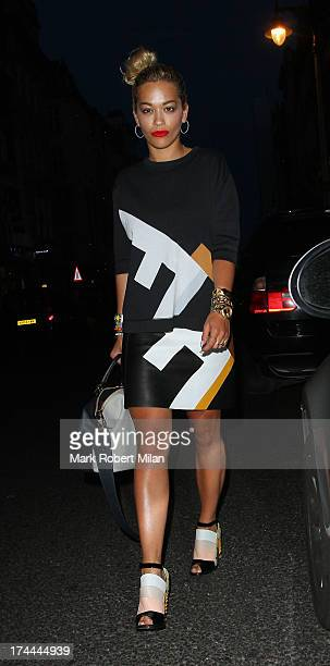 Rita Ora leaving Il Pizzaiolo restaurant on July 25 2013 in London England