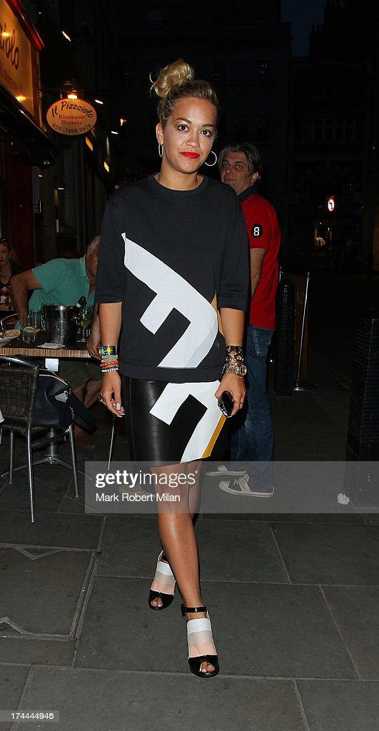 Rita Ora leaving Il Pizzaiolo restaurant on July 25, 2013 in London, England.
