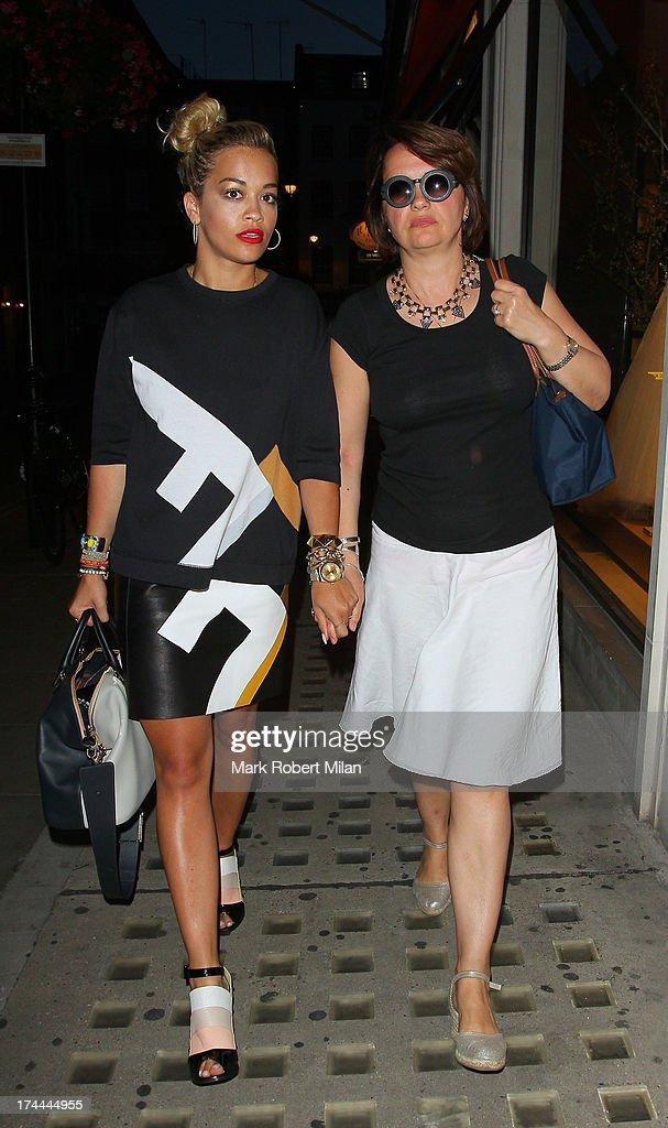 Rita Ora leaving Il Pizzaiolo restaurant on July 25, 2013 in London, England.
