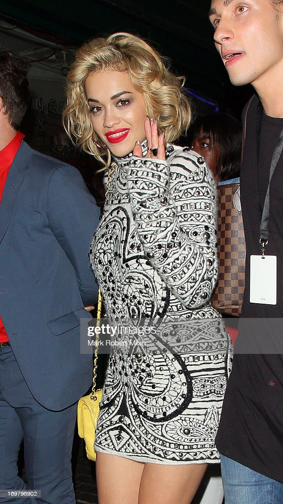 <a gi-track='captionPersonalityLinkClicked' href=/galleries/search?phrase=Rita+Ora&family=editorial&specificpeople=5686485 ng-click='$event.stopPropagation()'>Rita Ora</a> leaving the Box night club on June 1, 2013 in London, England.