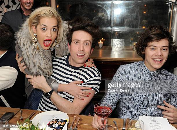Rita Ora Nick Grimshaw and Harry Styles attend as Nick Grimshaw hosts his first annual award season dinner at Hix in association with Philips Sound...
