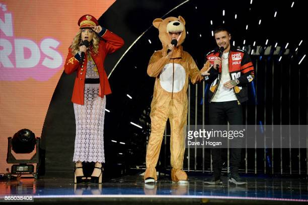 Rita Ora Nick Grimshaw and Liam Payne speak on stage at the BBC Radio 1 Teen Awards 2017 at Wembley Arena on October 22 2017 in London England