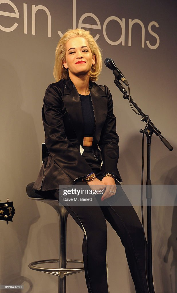 <a gi-track='captionPersonalityLinkClicked' href=/galleries/search?phrase=Rita+Ora&family=editorial&specificpeople=5686485 ng-click='$event.stopPropagation()'>Rita Ora</a> performing at the Calvin Klein Jeans launch party at their Regent Street store on February 18, 2013 in London, England.