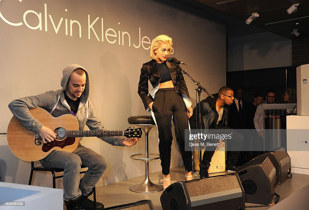 Rita Ora performing at the Calvin Klein Jeans launch party at their Regent Street store on February 18, 2013 in London, England.