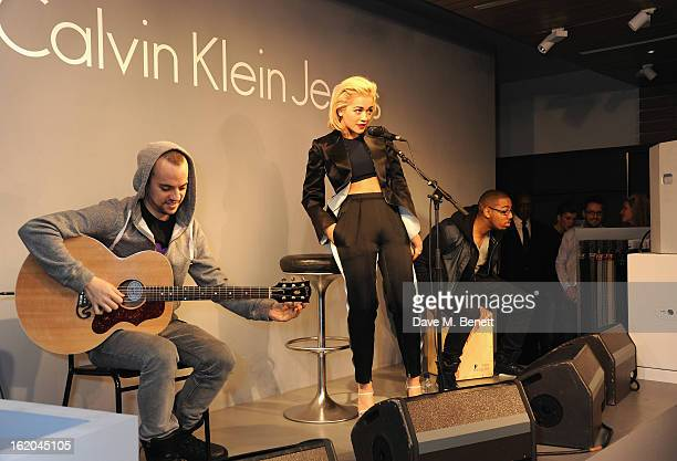 Rita Ora performing at the Calvin Klein Jeans launch party at their Regent Street store on February 18 2013 in London England