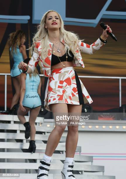Rita Ora performing on the Main Stage at the Wireless Festival in Finsbury Park north London