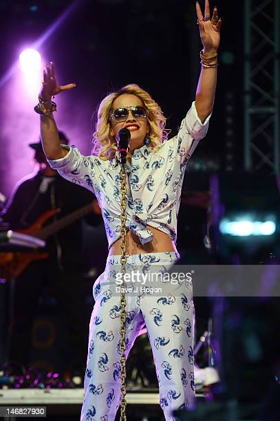 Rita Ora performs at day 1 of the BBC Radio 1 Hackney Weekend 2012 at Hackney Marshes on June 23 2012 in London England
